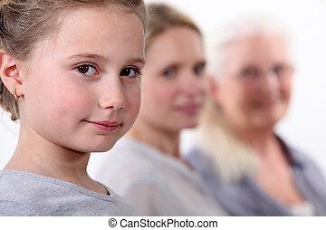 drie generaties, van, vrouwen