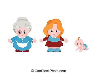 drie, generations., vrouwen, van, anders, leeftijden