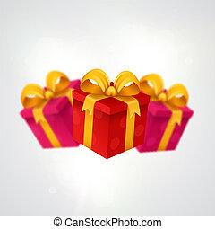 drie, geschenken., licht, achtergrond, met, kado, boxes.