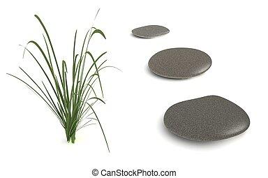 drie, grijze , steentjes, met, gras
