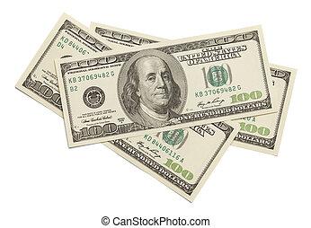 drie, honderd dollars