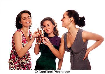drie, jonge vrouwen, het genieten van, champagne, aan een partij