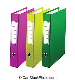drie, kantoor, folders