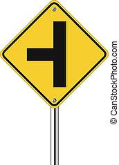 drie, kruising, verkeersbord