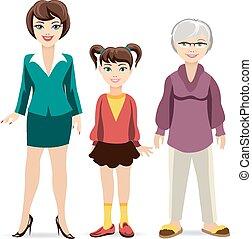 drie, leeftijden, van, women., dochter, moeder, en, grootmoeder