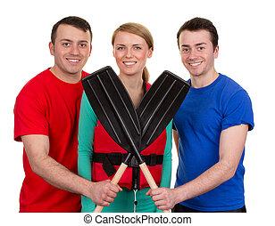 drie mensen, met, roeispaan