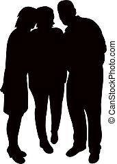 drie mensen, samen, silhouette, vector