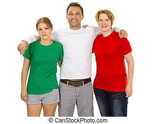 drie mensen, vervelend, groen wit, en, rood, leeg, overhemden