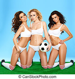 drie, mooi, atletisch, vrouwen, in, lingerie