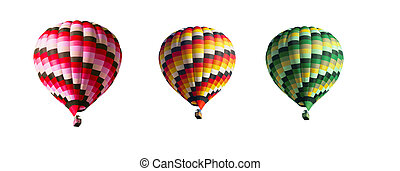 drie, multi-colored, ballons, op, een, witte achtergrond