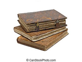 drie, oud, rafelig, boekjes , vrijstaand, op, witte
