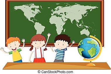 drie, scholieren, studeren, aardrijkskunde, klassikaal