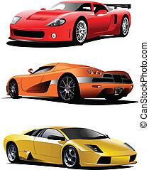 drie, sportende, auto's, op, de, road., vector, illustratie