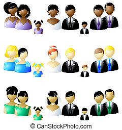drie, stellen, van, huwelijk partij, iconen