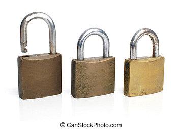 drie, veiligheid, goud, sloten