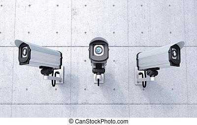 drie, veiligheidscamera's, frontaal, aanzicht
