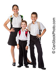 drie, vrolijke , scholieren, staand, samen