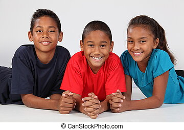 drie, vrolijke , school, vrienden