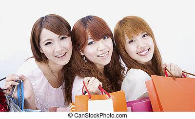 drie, vrolijke , shoppen , meisje