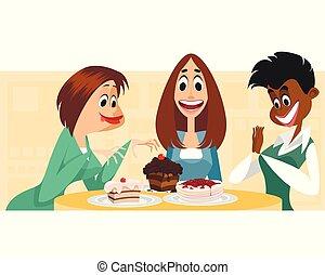 drie vrouwen, en, toetjes