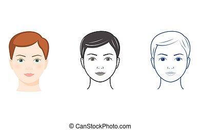 drie vrouwen, gezichten