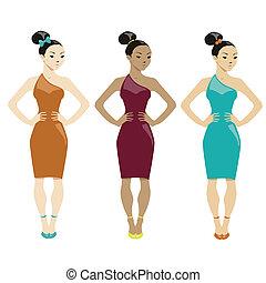 drie vrouwen, in, jurken