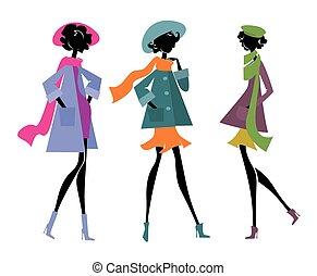 drie vrouwen, in, sjaals