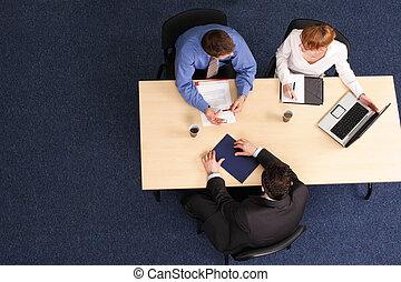 drie, zakenlui, vergadering