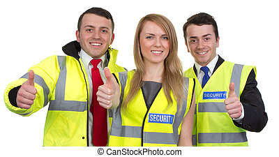drie, zekerheid lijfwachten, met, beduimelt omhoog, meldingsbord, vrijstaand, op wit