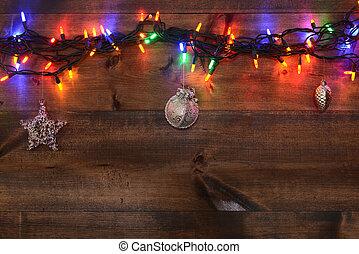 drie, zilver, versieringen, en, lichten
