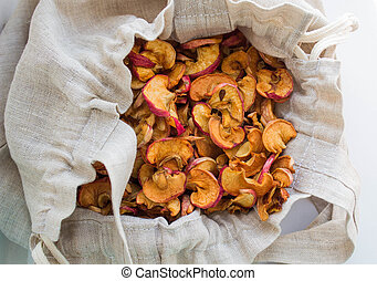 dried apples in a linen bag