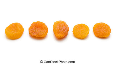 Dried apricot isolated on white - Five whole dried apricots ...