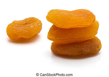 Dried apricot isolated on white - Three dried apricots in ...