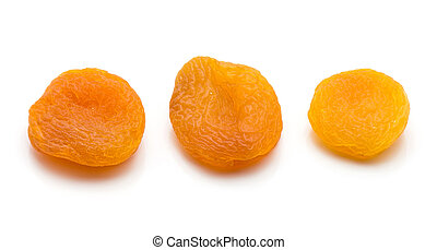 Dried apricot isolated on white - Three whole dried apricots...