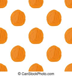 Dried apricot seamless pattern in cartoon flat style, vegetarian snack