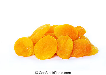 dried apricot - Dried apricot fruits isolated over white...