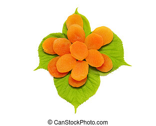 dried apricot with green leaves isolated on white background