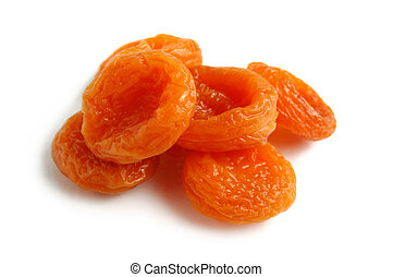 Dried apricots close-up Isolated over white background