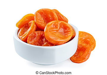 Dried Apricots fruits in a bowl isolated. toning. selective...