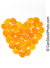 Dried apricots in shape of heart