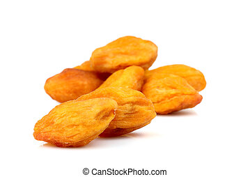 Dried apricots ( kaisa, uryuk, kuraga ) isolated .