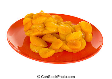 Dried Apricots On Red Plate