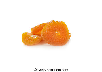 Dried apricots on white background