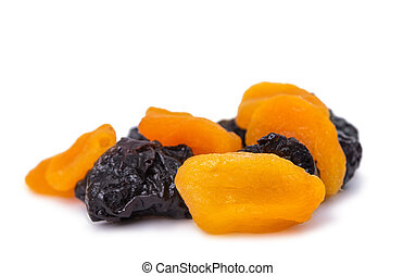 dried apricots, prunes isolated