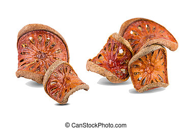dried bale fruit tea on white background