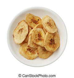 Dried banana chips in a bowl isolated on white background