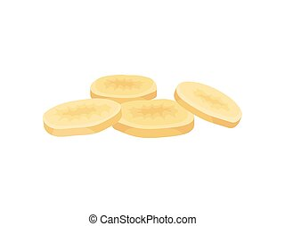 Dried banana slices on a white background. Realistic vector ...