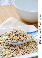 Dried barley seeds as food ingredients - Spoonful of dried...