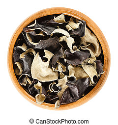 Dried black fungus Jew's ear in wooden bowl - Dried black...