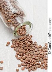 Dried brown lentils